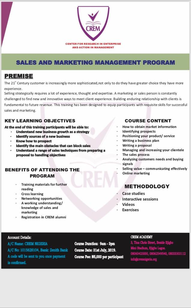 SALES AND MARKETING MANAGEMENT PROGRAM