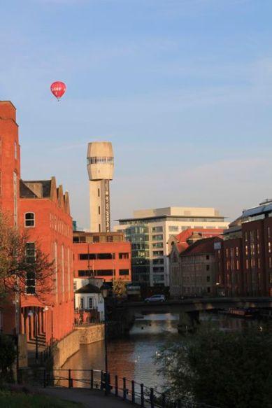 Balloon over Lead Shot Tower, Bristol