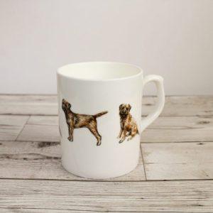 Border Terrier Dog Bone China Mug   Hand Printed and Designed by Gemma Keith