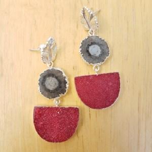 YAA YAA LONDON Silver Black Solar Quartz and Red Druzy Agate Leaf Earrings