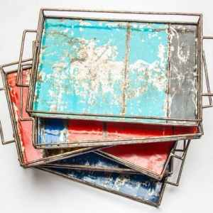 Upcycling Tray Made From Recycled Oil Drums   Size S (30 * 20cm)   Different Colors
