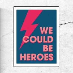WE COULD BE HEROES - ART PRINT - We CouldBeHeroes blue pink 500x500