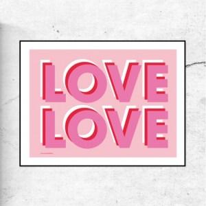 LOVE LOVE - TYPOGRAPHIC ART PRINT - LoveLove pink 500x500