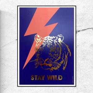 STAY WILD TIGER ART PRINT - GOLD FOIL - STAY WILD 500x500