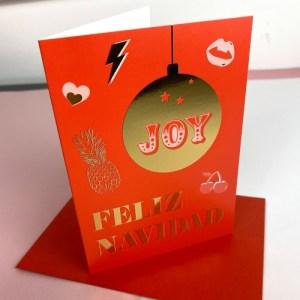 FELIZ NAVIDAD - HAPPY CHRISTMAS GREETING CARD - GOLD FOIL - FelizNavidad xmas card 500x500