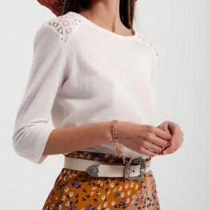 Plain Cream Top With 3/4 Sleeves And Crochet Application - top crema liso con mangas 34 y aplicacion de croche 500x500