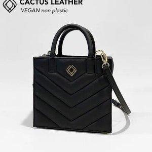 BOX BAG – Cactus Leather – Black – Stitches