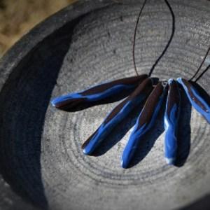 Black and blue beaded porcelain nerikomi necklace