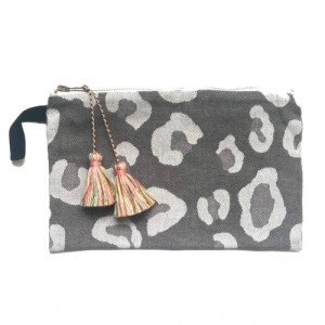 Grey Animal Print Pouch with Multicolor Tassels