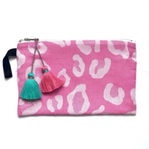 Pink Animal Print Pouch with Pink & Green Tassels