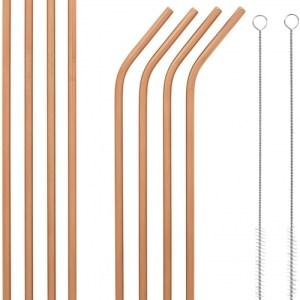 Rose Gold Bosh. Reusable Metallic Drinking Straw – Pack of 8