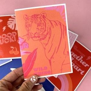 WILD THING TIGER GREETING CARD - Wild thing card 500x500
