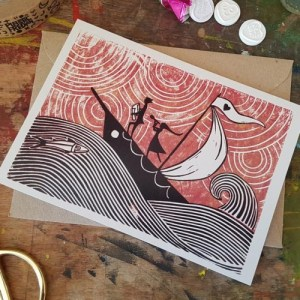 "Love Boat linocut print| 7x5"" recycled greeting card - il 794xN.2986513647 fdvv1 500x500"