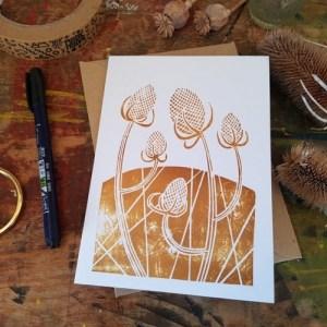 "Teasels linocut print 7x5"" recycled greeting card - il 794xN.2986540737 od341 500x500"