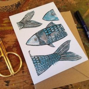 "Mackerel fish linocut print 7x5"" recycled greeting card - il 794xN.2986524619 jr671 500x500"