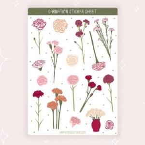 Carnation sticker sheet