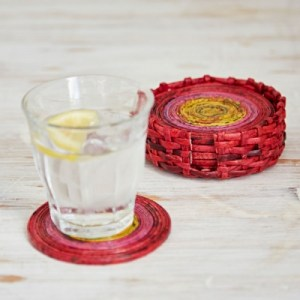 Recycled Newspaper Set of 6 Coasters in red, pink and yellow