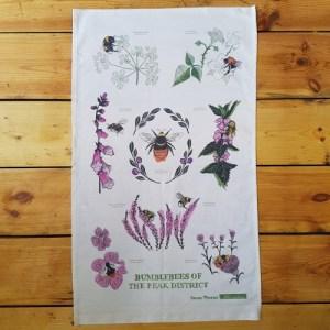 Bumblebees of the Peak District Cotton Tea Towel - bumbles tea towel full 500x500