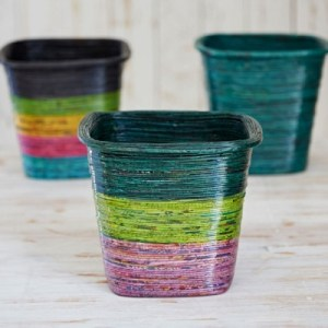 Recycled Newspaper Waste Paper Basket in dark green, light green and lilac