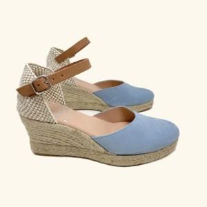 Natural leather espadrilles Amorgos wedge sandals light blue