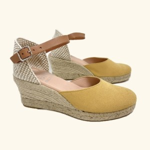 Natural leather espadrilles Amorgos wedge sandals yellow