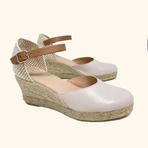 Natural smooth leather espadrilles Amorgos wedge sandals beige