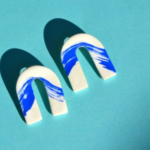 Blue Wave Clay Arches Earrings - DSC 0701 500x500