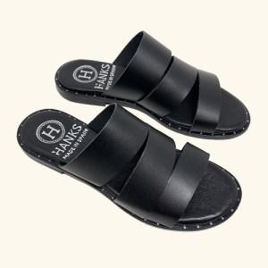 Milos Leather Flat Sandals black