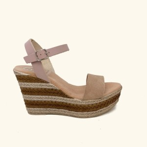 Zante Leather and Split Leather Wedge Sandals pink