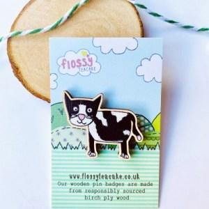 Flossy Teacake Cat Wooden Pin Badge