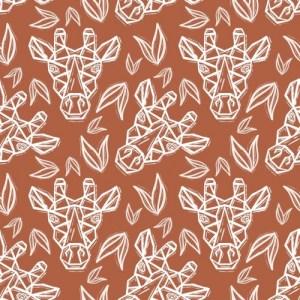 Geometric Handmade Top Knot Hat – Orange Giraffes