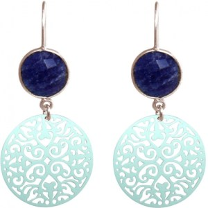 Gemshine ladies earrings with mandalas and blue sapphires of excellent quality. SIlver Earrings