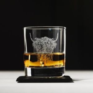 Highland Cow Engraved Style Glass Tumbler with Slate Coaster Gift Set