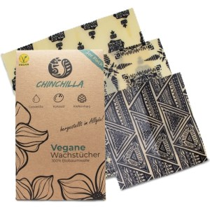 Chinchilla® 3-pack vegan wax food wraps (S, M, L) | Ecological & reusable alternative made of cotton, candelillawax, coconut oil & tree resin