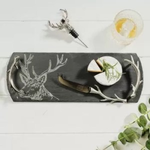 Stag Tray, Antler Cheese Knife & Stag Bottle Pourer Gift Set