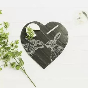 Gift Boxed Kissing Hare Cheese Board with Chalk Pencil