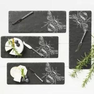 4 Mini Bee Cheese Board & Knife Set