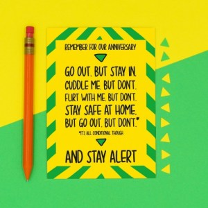Stay Alert Boris Johnson Speech Anniversary A6 Card