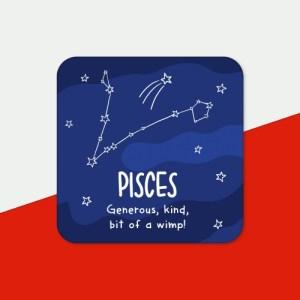 Pisces Rude Star Sign Zodiac Coaster