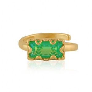 Rebecca Baguette Gem Adjustable Ring – Gold/Green