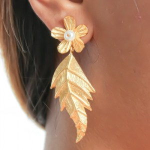 Asopalav Golden Leaf Earrings