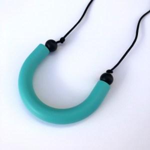 Turquoise U shaped teething pendant