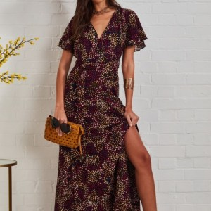 Wrap Front Split Leg Maxi Dress In Multi Spot Print