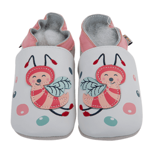 Soft Leather Baby Slippers Bees