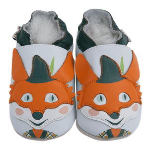 Soft Leather Baby Slippers Robin Hood Fox