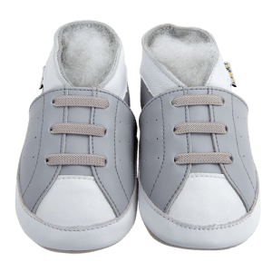 Soft Leather Baby Slippers Gray Sneakers