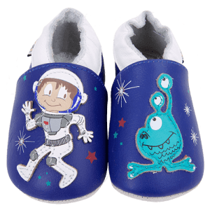 Soft Leather Baby Slippers Astronaut