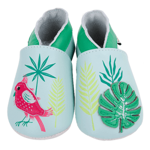 Soft Leather Baby Slippers Tropical bird Kid shoes