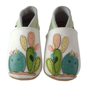 Soft Leather Baby Slippers Cactus
