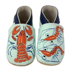 Soft Leather Baby Slippers Lobster And Shrimps